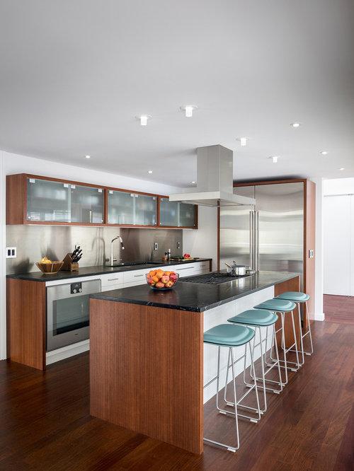 Contemporary Kitchen Remodeling   Trendy U Shaped Dark Wood Floor And Brown  Floor Kitchen Photo