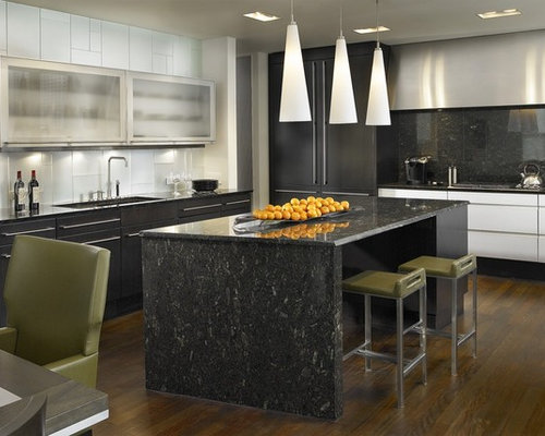 Overhead kitchen lighting houzz inspiration for a contemporary l shaped eat in kitchen remodel in chicago with glass workwithnaturefo