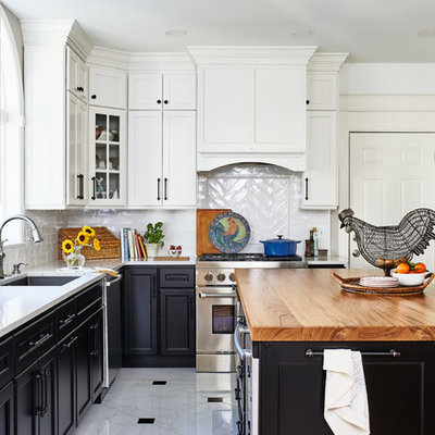 Kitchen - mid-sized cottage u-shaped porcelain tile and multicolored floor kitchen idea in DC Metro with shaker cabinets, quartz countertops, white backsplash, porcelain backsplash, stainless steel appliances, an island, white countertops and an undermount sink