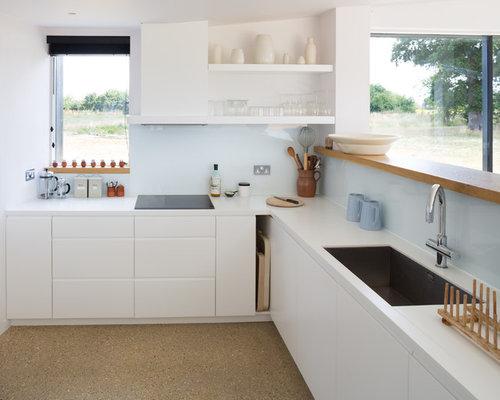 White Contemporary Kitchen Cabinets Houzz