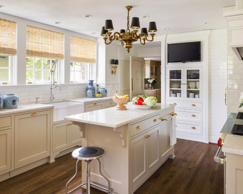 Example Of A Transitional Enclosed Kitchen Design In Portland With A  Farmhouse Sink, Recessed