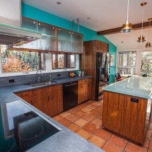ボストンの中くらいのトランジショナルスタイルのおしゃれなキッチン (アンダーカウンターシンク、フラットパネル扉のキャビネット、濃色木目調キャビネット、コンクリートカウンター、グレーのキッチンパネル、磁器タイルのキッチンパネル、黒い調理設備、テラコッタタイルの床、赤い床) の写真