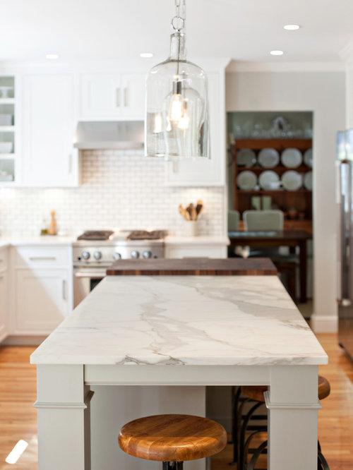 Quartz Countertops With Calcutta Island Houzz - Calcutta kitchens