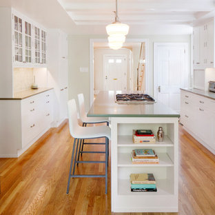 Transitional kitchen photo in Philadelphia with solid surface countertops, glass-front cabinets and white cabinets