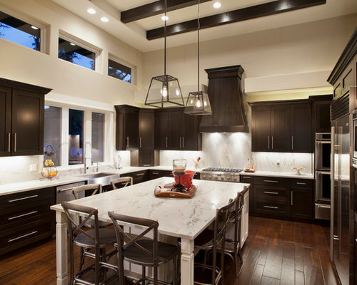 Dark cabinets light island home design ideas pictures for Dark kitchen cabinets light island