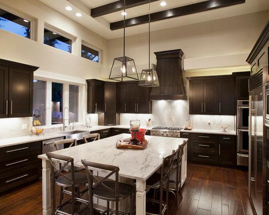 Contemporary Kitchens With Dark Cabinets dark cabinets light countertop | houzz