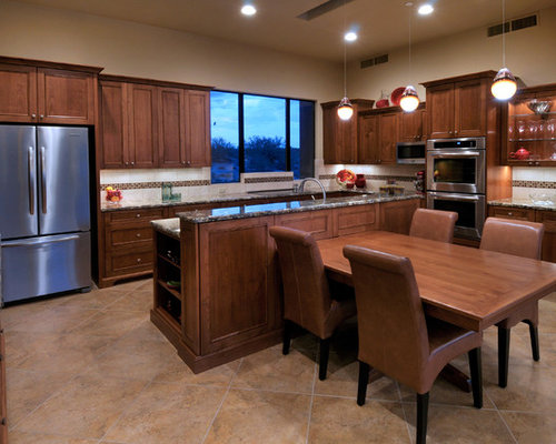 Delightful Contemporary Kitchen Idea In Phoenix With Glass Front Cabinets And  Stainless Steel Appliances