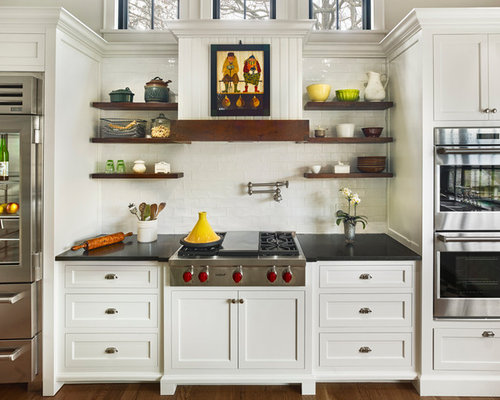open shelves above stove houzz. Black Bedroom Furniture Sets. Home Design Ideas