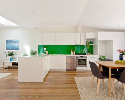 Photo Of A Contemporary L Shaped Eat In Kitchen In Sydney With Flat