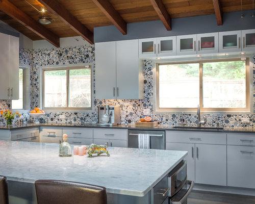 Example Of A Huge Midcentury Modern L Shaped Dark Wood Floor Open Concept  Kitchen Design