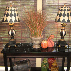 Traditional Kitchen Table in kitchen dining area decorated for fall.