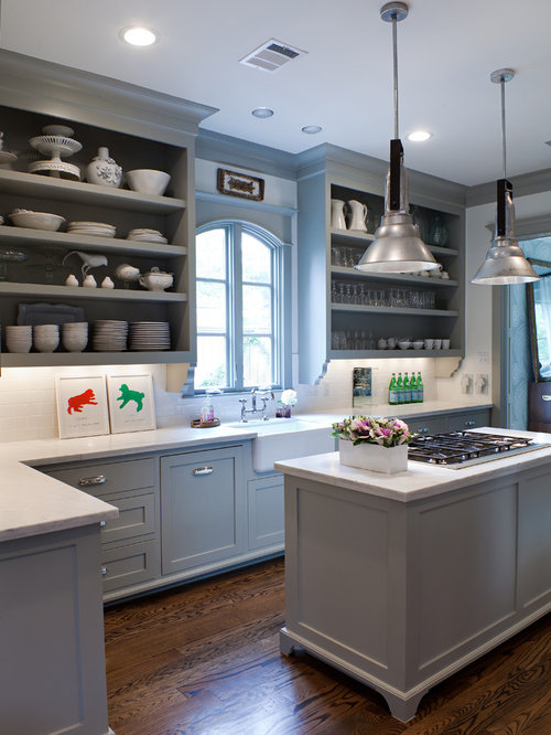 Example Of A Transitional Kitchen Design In Houston With A Farmhouse Sink,  Open Cabinets,