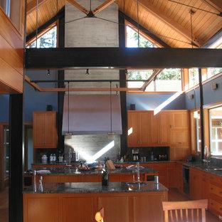 シアトルのインダストリアルスタイルのおしゃれなキッチン (シェーカースタイル扉のキャビネット、中間色木目調キャビネット、御影石カウンター) の写真