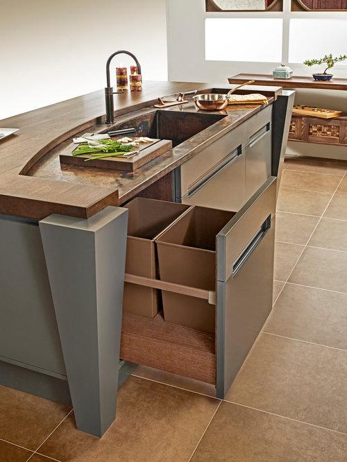 Küche mit Küchenrückwand in Grün und Kupfer-Arbeitsplatte - Ideen ... | {Arbeitsplatte grün 14}