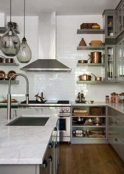 Transitional Kitchen by Tanya Capaldo Designs