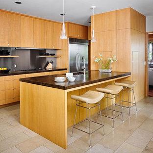 オースティンのアジアンスタイルのおしゃれなII型キッチン (シルバーの調理設備の、フラットパネル扉のキャビネット、淡色木目調キャビネット、メタリックのキッチンパネル、メタルタイルのキッチンパネル) の写真