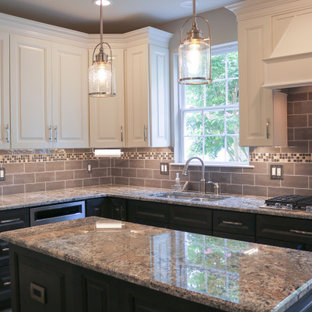 Inspiration for a small traditional l-shaped eat-in kitchen in Burlington with an undermount sink, raised-panel cabinets, beige cabinets, granite benchtops, brown splashback, stainless steel appliances, vinyl floors, with island, brown floor and beige benchtop.