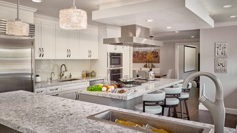 Taupe and white Contemporary Kitchen