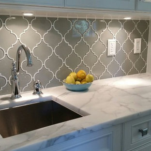 Inspiration For A Timeless Kitchen Remodel In Vancouver With Gray Backsplash And Gl Tile
