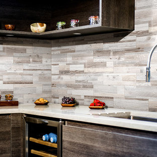 Small rustic enclosed kitchen ideas - Example of a small mountain style l-shaped enclosed kitchen design with a drop-in sink, open cabinets, dark wood cabinets, marble countertops, gray backsplash, porcelain backsplash and no island
