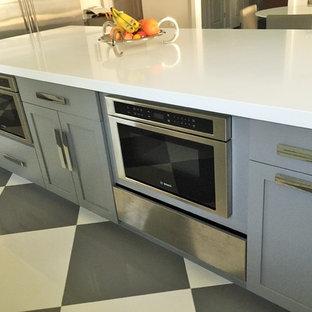 ニューヨークの大きいインダストリアルスタイルのおしゃれなキッチン (シェーカースタイル扉のキャビネット、グレーのキャビネット、クオーツストーンカウンター、シルバーの調理設備の、磁器タイルの床、マルチカラーの床) の写真