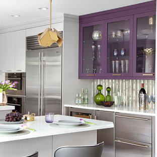 Inspiration for a mid-sized contemporary kitchen in New York with a triple-bowl sink, flat-panel cabinets, purple cabinets, quartz benchtops, metallic splashback, mirror splashback, stainless steel appliances, vinyl floors, with island, grey floor and white benchtop.
