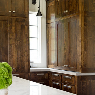 Large transitional kitchen remodeling - Kitchen - large transitional u-shaped dark wood floor kitchen idea in Other with an undermount sink, shaker cabinets, dark wood cabinets, marble countertops, blue backsplash, subway tile backsplash, stainless steel appliances and an island