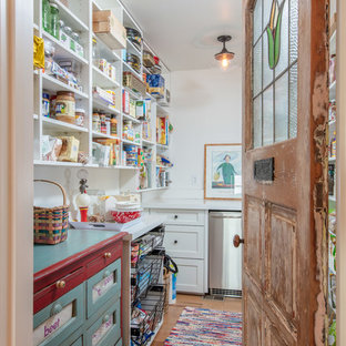 Farmhouse kitchen pantry remodeling - Kitchen pantry - farmhouse medium tone wood floor and brown floor kitchen pantry idea in Other with open cabinets, white cabinets and stainless steel appliances