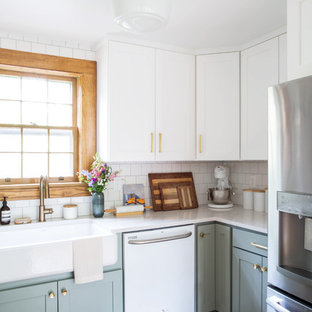 kitchen design white cabinets white appliances. Small Transitional Eat-in Kitchen Designs - Eat-in Small  L Design White Cabinets Appliances T