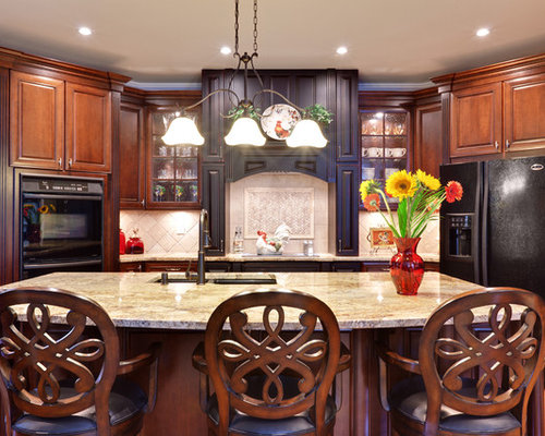 travertine kitchen backsplash cherry cabinets black granite houzz 2920