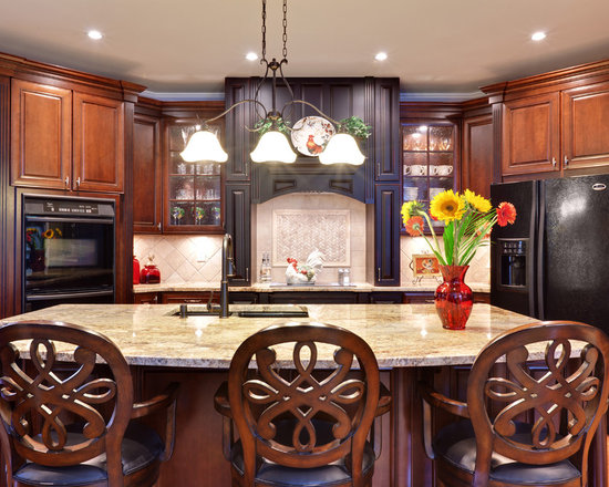 Cherry Kitchen Cabinets Black Granite cherry cabinets black granite | houzz