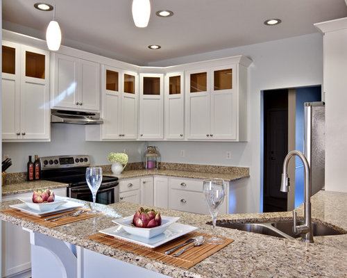 Small Contemporary Eat In Kitchen Remodeling   Example Of A Small Trendy  U Shaped