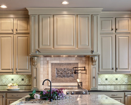 Travertine Backsplash With Medallion Accents Home Design