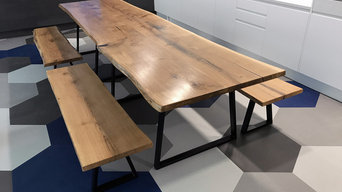 Tétris Bluu - Live Edge Oak Kitchen Table & Benches