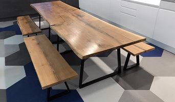Tétris Bluu - Live Edge Oak Kitchen Table & Benches