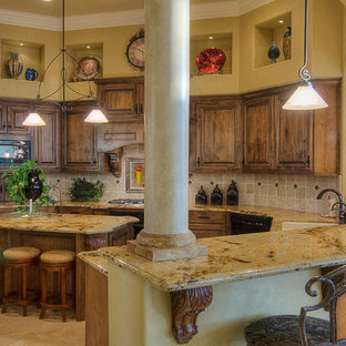 Mid Sized Mediterranean Enclosed Kitchen Designs   Example Of A Mid Sized  Tuscan U