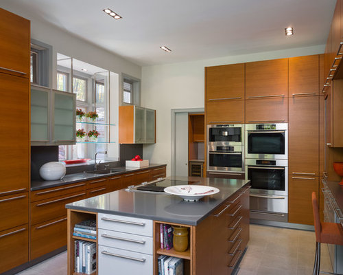 Example Of A Mid Sized Trendy U Shaped Enclosed Kitchen Design In New York