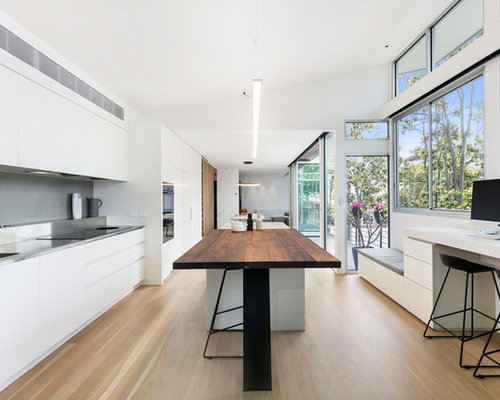 Design Ideas For A Modern Galley Open Plan Kitchen In Melbourne With An  Integrated Sink,