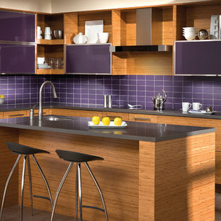 The Beauty of Bamboo: Modern Purple and Bamboo Kitchen