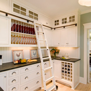 Putnam Rolling Ladder Clear All Example Of A Clic Kitchen Design In Boston With Recessed Panel Cabinets White