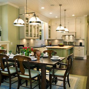 Large Cottage L Shaped Dark Wood Floor And Brown Eat In Kitchen Photo