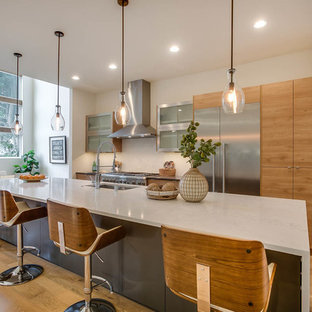 Contemporary eat-in kitchen designs - Example of a trendy light wood floor and beige floor eat-in kitchen design in Seattle with an undermount sink, flat-panel cabinets, light wood cabinets, stainless steel appliances and an island
