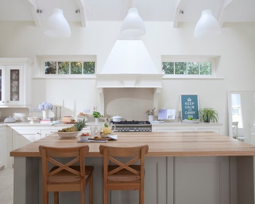 Great Traditional Kitchen Idea In Dublin With Recessed Panel Cabinets, White  Cabinets And Wood Countertops Part 29
