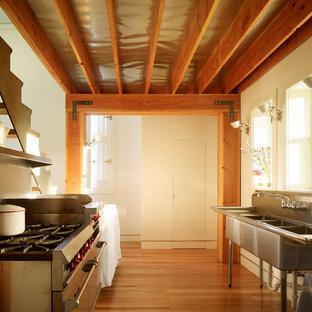 Новые идеи обустройства дома: параллельная, отдельная кухня в стиле лофт с техникой из нержавеющей стали и тройной раковиной