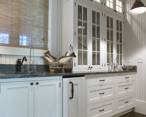 Example Of A Classic Kitchen Design In Atlanta With Glass Front Cabinets,  An Undermount