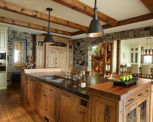 cuisine montagne avec un plan de travail en bois photos et id es d co de cuisines. Black Bedroom Furniture Sets. Home Design Ideas