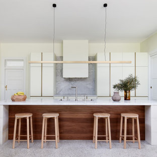 This is an example of a contemporary kitchen in Sydney with a double-bowl sink, flat-panel cabinets, granite benchtops, grey splashback, granite splashback, concrete floors, with island, grey floor and grey benchtop.