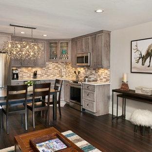 デンバーの小さいトランジショナルスタイルのおしゃれなキッチン (シングルシンク、シェーカースタイル扉のキャビネット、グレーのキャビネット、クオーツストーンカウンター、マルチカラーのキッチンパネル、ボーダータイルのキッチンパネル、シルバーの調理設備の、濃色無垢フローリング、アイランドなし、茶色い床) の写真