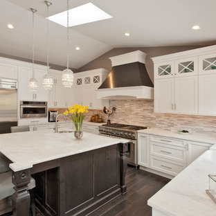 Large contemporary kitchen appliance - Kitchen - large contemporary u-shaped kitchen idea in DC Metro with shaker cabinets, white cabinets, marble countertops, stone tile backsplash, stainless steel appliances and an island