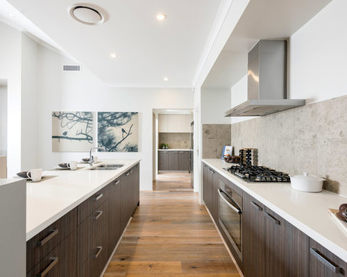 galley kitchen. This is an example of a contemporary galley kitchen in Perth with  double bowl Galley Kitchen Design Ideas Renovations Photos